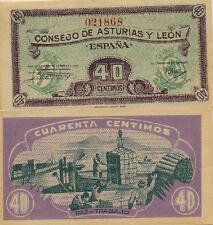 40 Céntimos. Consejo de Asturias y León. Sin serie. Nº 021868. Tamaño 92x45 mm.