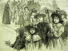 BROOKLYN SUNDAY SCHOOL CHILDREN PARADE 1889 Antique Art Print Matted