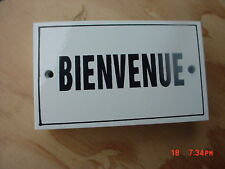 French Enamel Metal Sign Plaque  BIENVENUE   Welcome