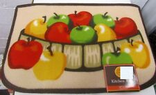 "PRINTED NYLON KITCHEN RUG (nonskid back) (16""x24"") BASKET & 12 APPLES, design 2"