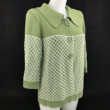 New Christopher & Banks Cardigan Size Large Green White Sweater