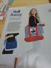 Cabled Handbag & Stripy Sail Boat Beach Bag Knitting Patterns