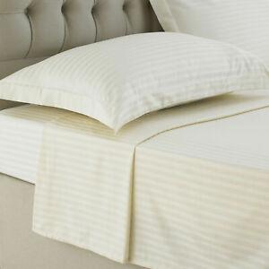 Luxury High Quality 250TC Stain Stripe Flat Sheet 100% Egyptian Cotton All Sizes