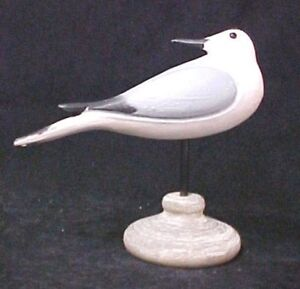 Hand Carved Shorebird Hand Painted Coastal Tern Decoy with Stand Carving