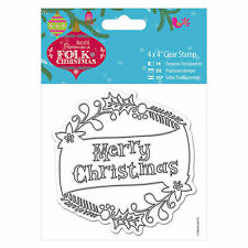 "MERRY CHRISTMAS - 4""x4"" Clear Stamp - Folk Christmas Collection - DoCrafts"