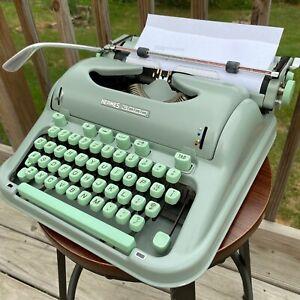 HERMES 3000 1965 Seafoam Green Manual TYPEWRITER Working Cursive Case Brush