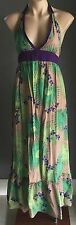 Great Condition DOTTI Multi Coloured Maxi Halter Neck Dress w Open Back Size 12