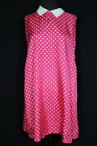 VINTAGE FRENCH 1960'S COLORFUL VIVID PINK & WHITE POLKA DOT RAYON DRESS SIZE 6+