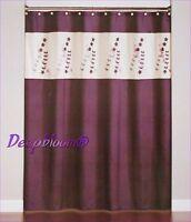 SATURDAY KNIGHT BATH SHOWER FABRIC CURTAIN - AVRIL - PURPLE FLORAL 70 x 72 NEW