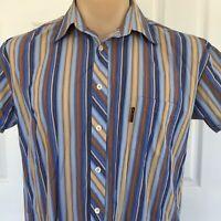 Ben Sherman Brown Blue Shirt Sleeve Mens Shirt Size XXL  Italian Cloth Button Up
