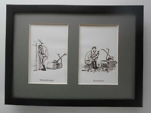 Norman Thelwell Black and White Cartoon Gardening / Gardeners prints FRAMED
