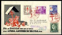 Sobre matasellado primer dia de España 1947 Pro Tuberculosos y General Franco