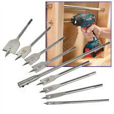"10 Pce Flat Wood Drill Bit Set 12"" Extension Spade Head Hex Drive Hole Cutter"