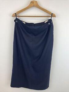DAKS vintage Women's Skirt size 18 - Wool Blend - Navy Blue - A94