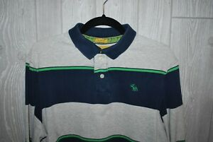 Abercrombie & Fitch Muscle Polo Style Shirt Navy/Gray/Green Stripe Size XL ~ EUC