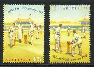 Australian 1992 Sheffield Shield Cricket, set of 2, Mint Never Hinged