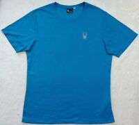 Spyder Alpine Tech Textured Short Sleeve Blue Crew Neck Shirt Size Medium NWOT.