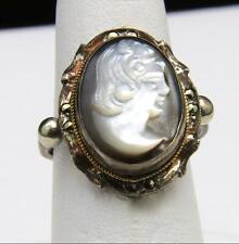 Vintage Silver &  Marcasite Cameo Ring Sz 8 Face Woman Retro Jewelry
