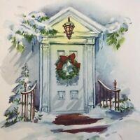 Vintage Mid Century Christmas Greeting Card Snowy Doorway Lantern Wreath