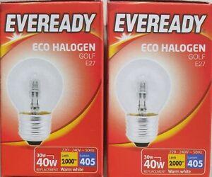 2 X Eveready 30=40w ES G45 Golfball Mini Globe Clear 405LMS - 2000 HRS