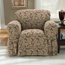 Scroll Classic Box Cushion Armchair Slipcover brown