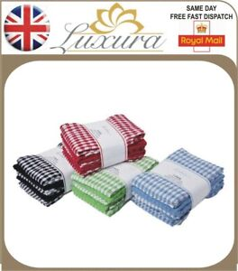 NEW MONO CHECK TERRY TEA TOWELS PURE COTTON LARGE KITCHEN DISH CLEANING CLOTH