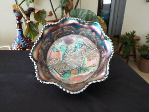 Fenton Blue Large Panther Bowl. Carnivla Glass