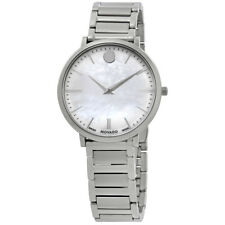 Movado Ultra Slim White Mother of Pearl Dial Ladies Watch 0607170