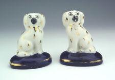 Vintage Staffordshire Pottery-paire de miniature Spaniel Chien Figures-RARE!
