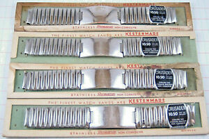 """Lot (4) Vintage Mens 5/8"""" NOS Watch Bands Sterling Silver ID Tag Stainless Steel"""