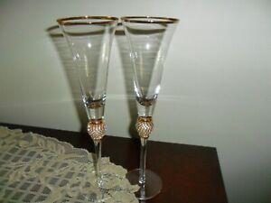 "Trinkware Wedding Champagne Flutes - Rhinestone ""Diamond"" Studded Toasting Glass"