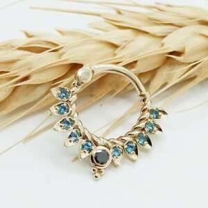 1.50 Ct Blue Topaz & Black Diamond Daith Septum Nose Pin 14k Yellow Gold Over