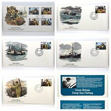 FDC Britain Cachet Deep Sea Fishing by BRIAN SANDERS - MINT Set of 5 MNH 1981