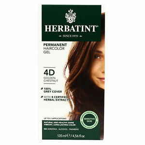 Herbatint Permanent Hair Color, 4D Golden Chestnut, Clearance for damaged box