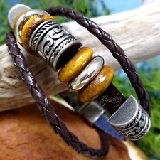 Vintage Stainless Steel Beaded Charm Brown Genuine Leather Unisex Bracelet