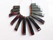 1 X Negro hematites Ventilador De Granos 10mm-27mm X 4 Mm Collar De Piedras Preciosas (gb1070)