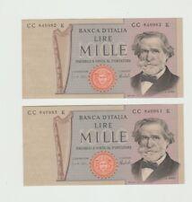 Lotto x2 Banconote 1000 Lire Verdi 2°Tipo Consecutive da Mazzetta q.Fds [l46]
