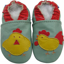 carozoo rooster hen green 12-18m soft sole leather baby shoes
