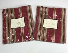 Pottery Barn Red Hudson Stripe Cafe Curtain Valance Tie Top 44x24 set of 2 NWOT