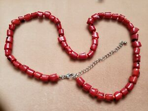"Hand- Made GENUINE * CORAL * NECKLACE 20"" Plus Long - Made in USA"
