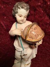 "Beautiful Antique 19th German Porcelain Figurine Meissen Boy With A Globe 5.25""!"