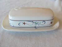 Mikasa Intaglio Annette CAC20- Red Flowers -1/4 lb Covered Butter Dish-2 Avail