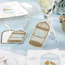 10 Large LUGGAGE TAGS Vintage TO HAVE and TO HOLD Favours Birdcage & Birds Gold