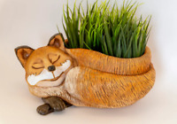 Sleeping Fox Ceramic Planter,Clay Plants Pot Cachepot,Russian Handmade,Brown