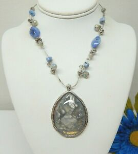 """CHICO'S SILVER TONE & MARBLED TEARDROP CABOCHON PENDANT NECKLACE 19"""""""