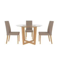 Wooden Round Table & Chair Sets with 4 Seats
