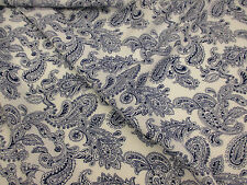 Navy on Ivory Paisley 100% Viscose Summer Printed Dress Fabric.