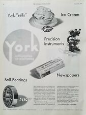 1946 York Refrigeration air conditioning Breyers Ice Cream SKF ball bearings ad