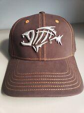 UNIQUE FISH SKELETON BONES Fishing Hat Cap BROWN w Silver Logo Size M/L