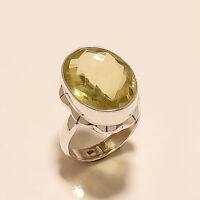 Natural Spanish Lemon Topaz Ring 925 Sterling Silver Handmade Men's Jewelry Gift